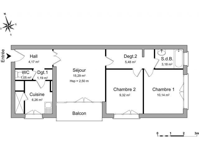 Appartement 3 pièces 56 m2 Eaubonne