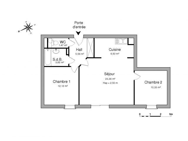 Appartement 3 pièces 63 m2 Quéven