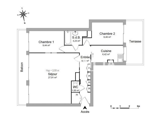 Appartement meubl 3 pi ces louer paris 75013 foncia for Appartement a louer meuble paris